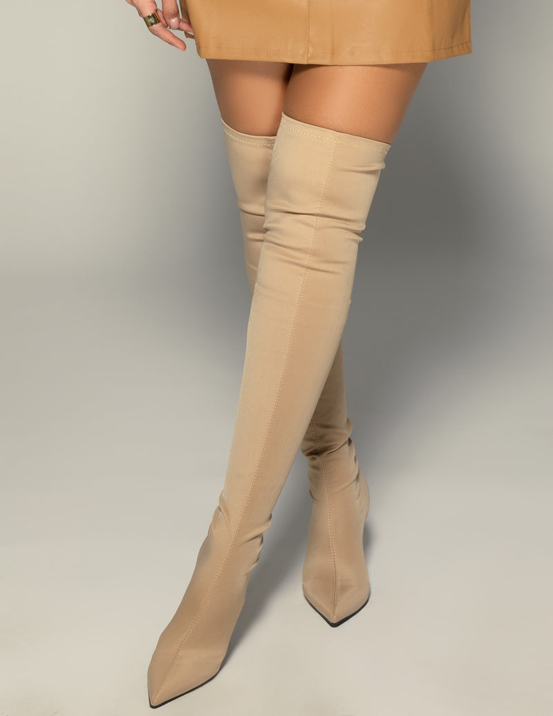 Thigh High Lycra Boots - Nude