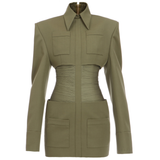 Ruched Military Dress