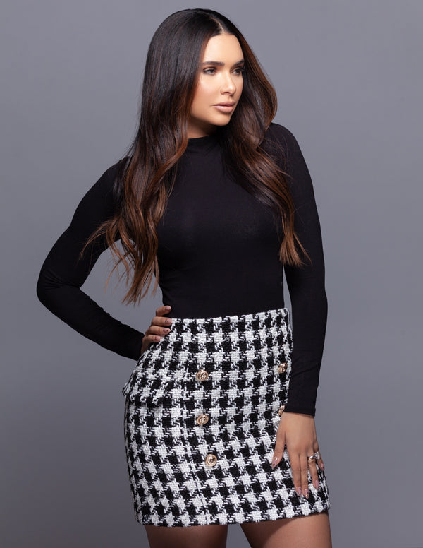 Houndstooth Button Skirt