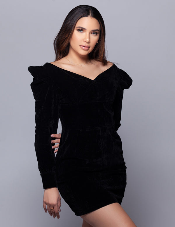 Velvet Off Shoulder Mini Dress