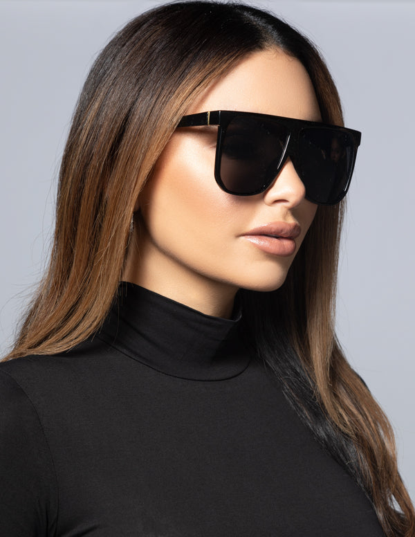 Oversized Square Glasses - Black