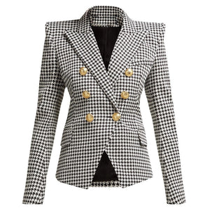 Houndstooth Gold Button Blazer