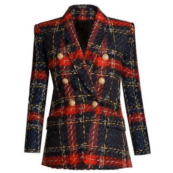 Plaid Tweed Wool Blazer