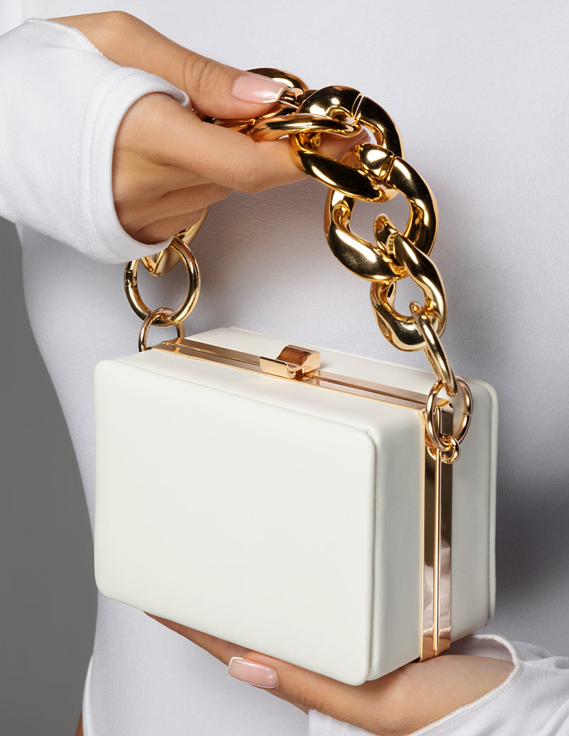 Chain Handle Box Bag - White