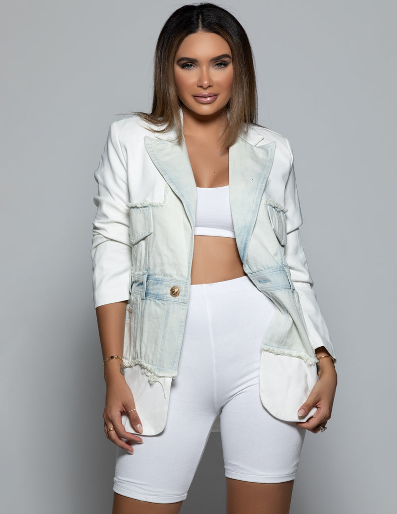 Relaxed Denim Panel Blazer