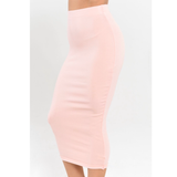 Knitted Fitted Pencil Skirt - Blush