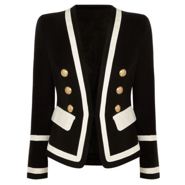 Black and White Gold Button Blazer