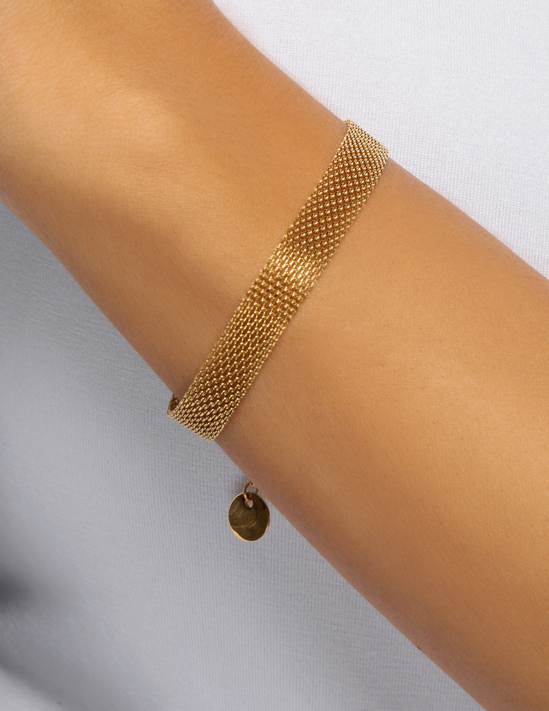 18k Gold Plated Mesh Chain Bracelet