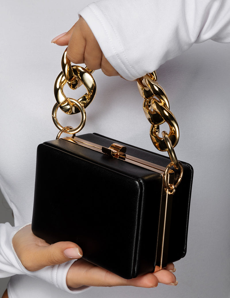 Chain Handle Box Bag - Black