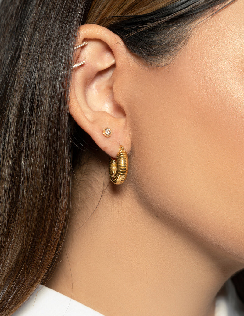 18k Gold Plated Chunky Textured Hoop Earrings