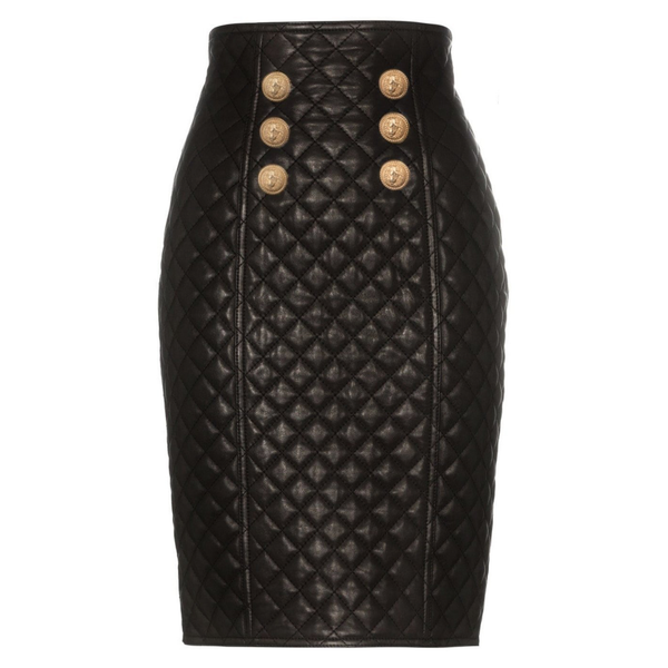 Quilted Leather Skirt