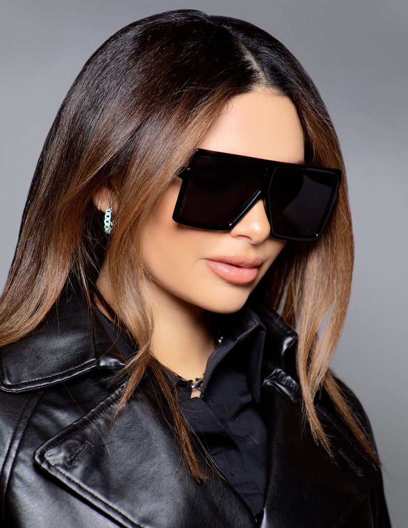 Oversized Flat Square Sunglasses - Black
