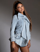 Denim Bow Blouse