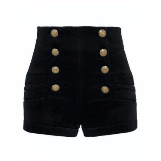 Velvet Button Shorts