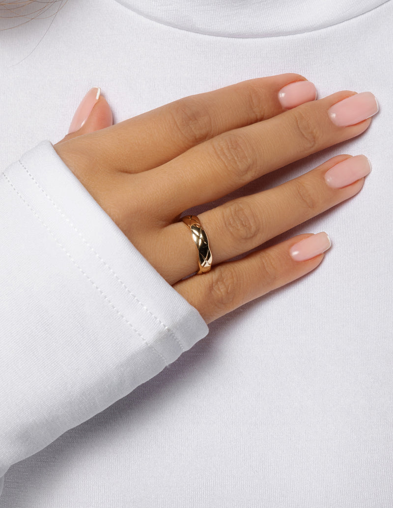 Thin Quilted Cuff Ring