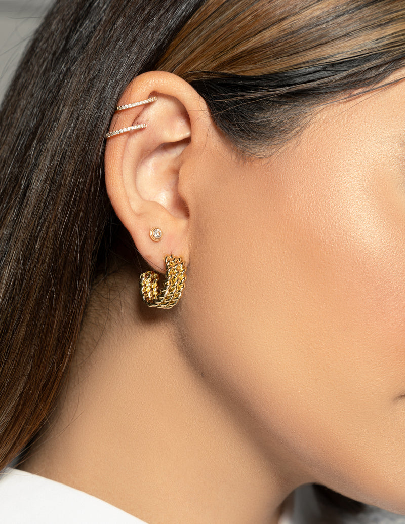 14k Gold Plated Multi Twist Hoop Earrings
