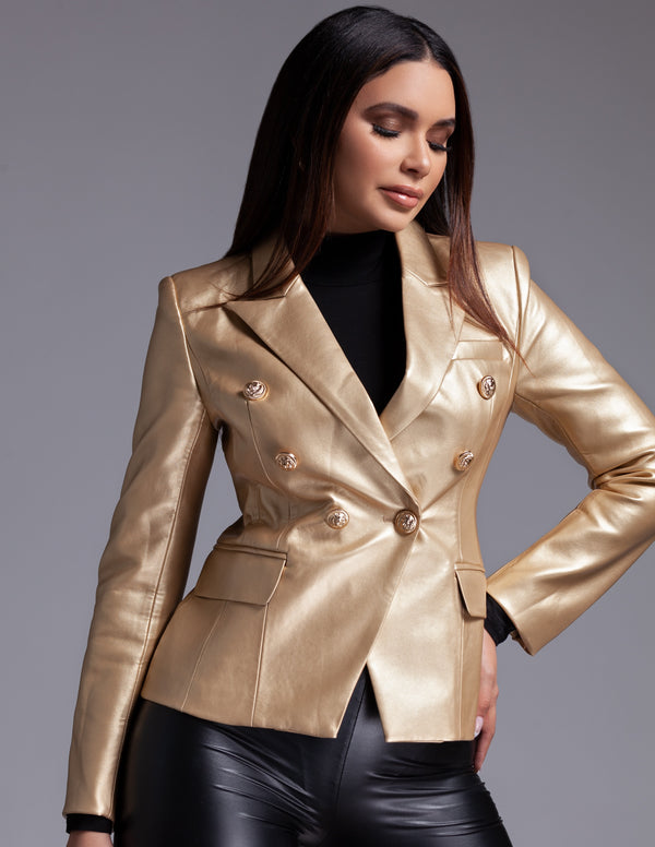 Metallic Leather Button Blazer