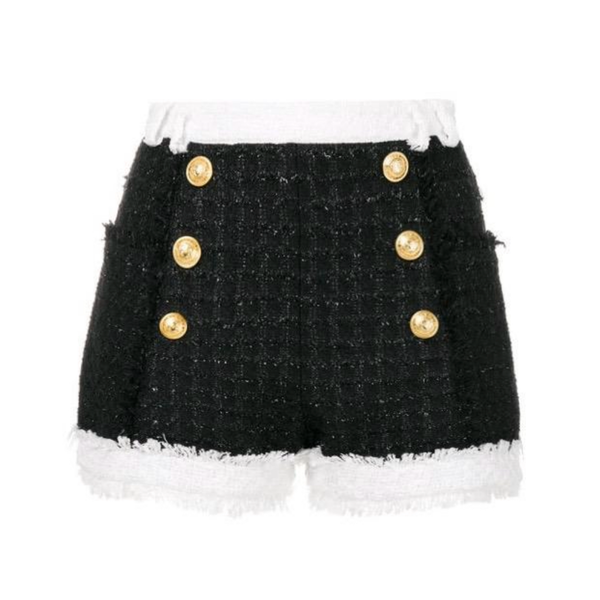 Tweed Black + White Shorts