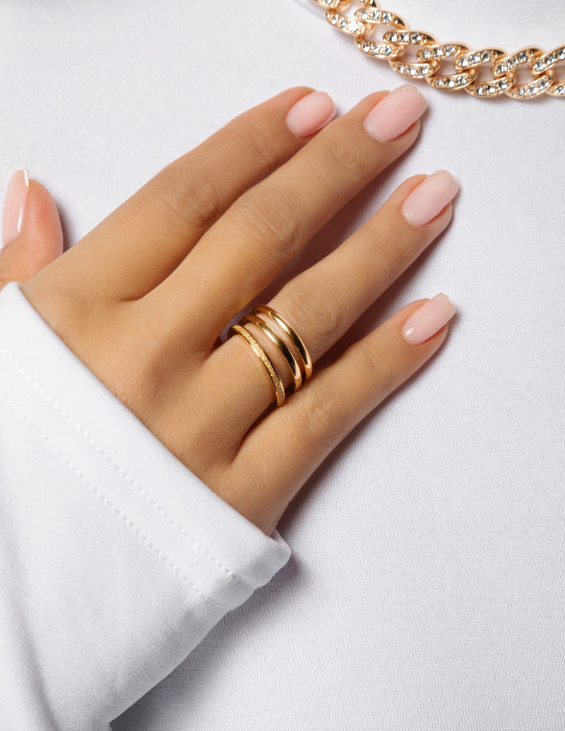 3-Piece Textured Band Rings