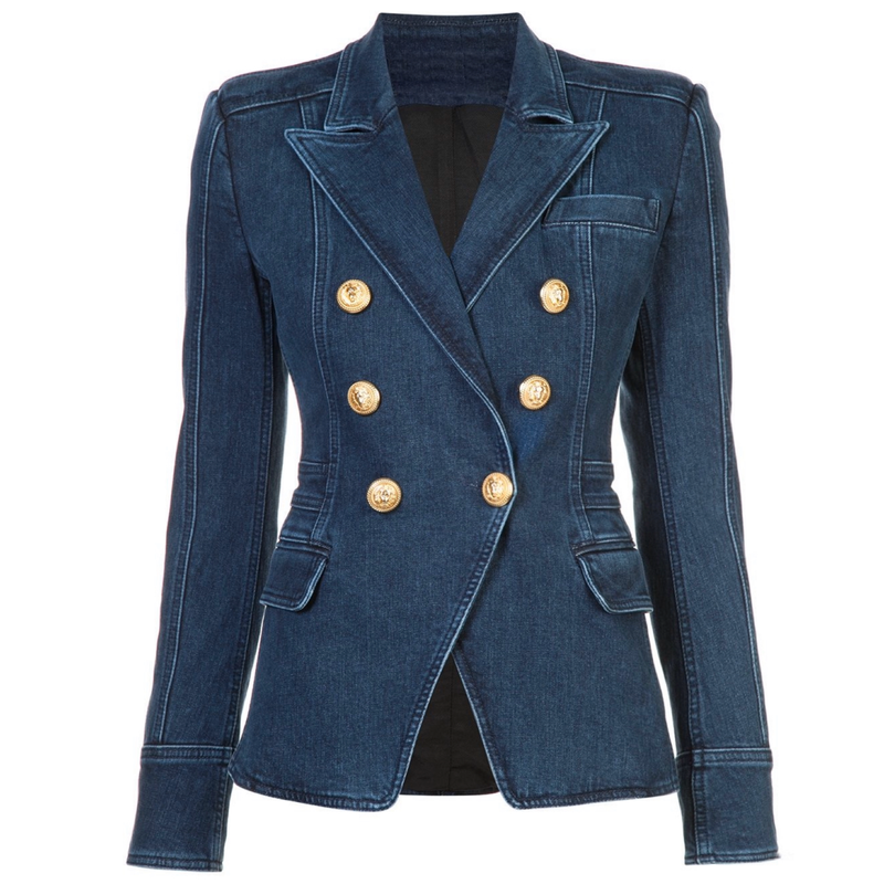 Denim Gold Button Blazer