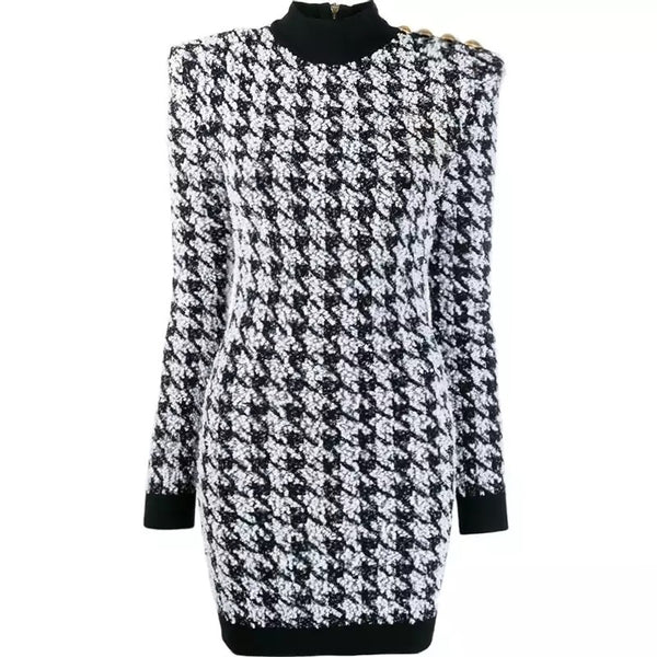 Houndstooth Mini Dress