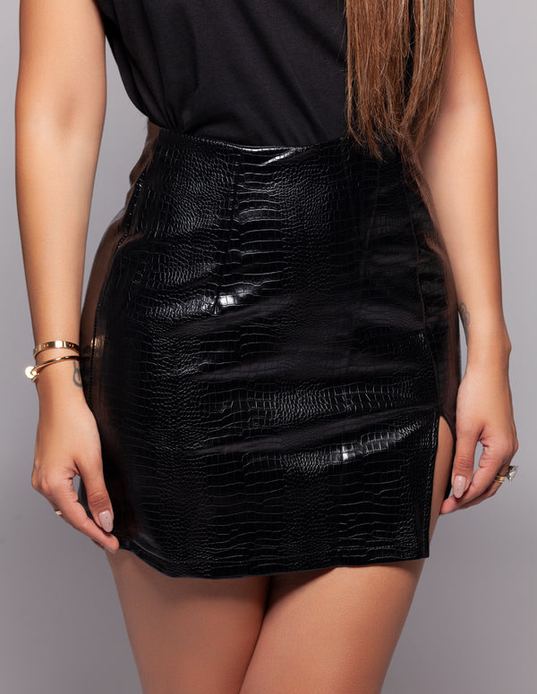 Vegan Crocodile Slit Mini Skirt