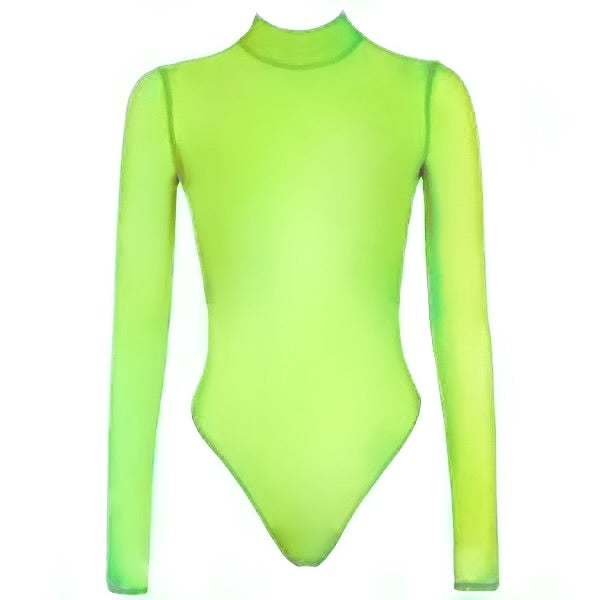 Neon Sheer Turtleneck Bodysuit - 3 Colors
