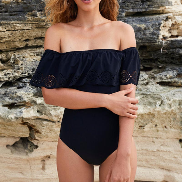 New Off The Shoulder Solid One Piece Swimsuit