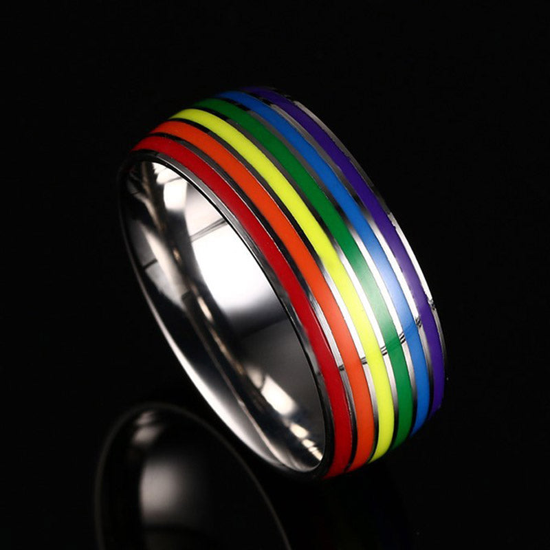 Rainbow Rings Titanium 316L Stainless Steel for Men and Women