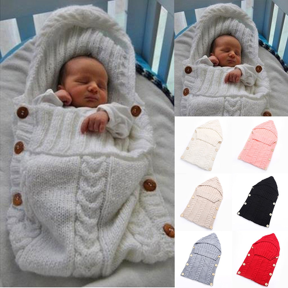 Baby Crochet Knitted Swaddle Wrap Sleeping Bag