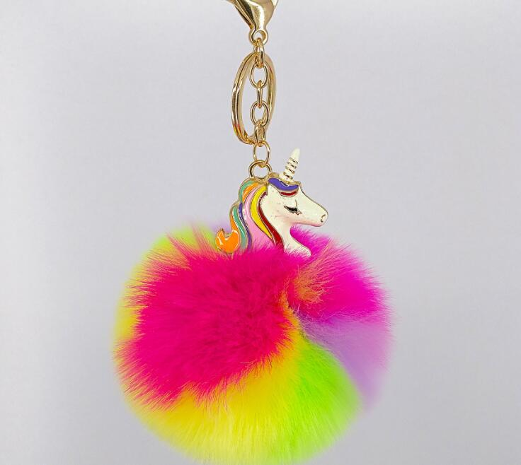 High Quality Cute Metal fluffy Unicorn Keychains