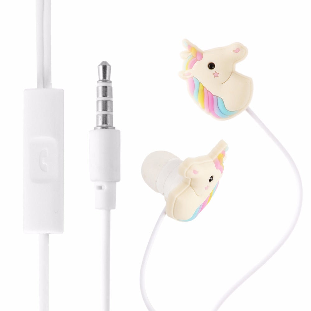 Unicorn Cartoon Earphones  3.5mm Earbuds With Mic Mini For Smartphone