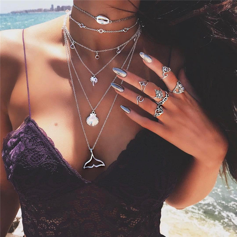 Bohemian Multilayer Mermaid Tail Pendant Necklace