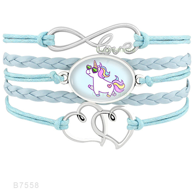 Unicorn Heart Infinity Love 18*25mm Charm Leather Bracelets