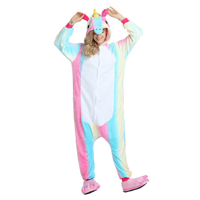 Adult Unicorn Pajamas Cartoon Sleepwear Hooded