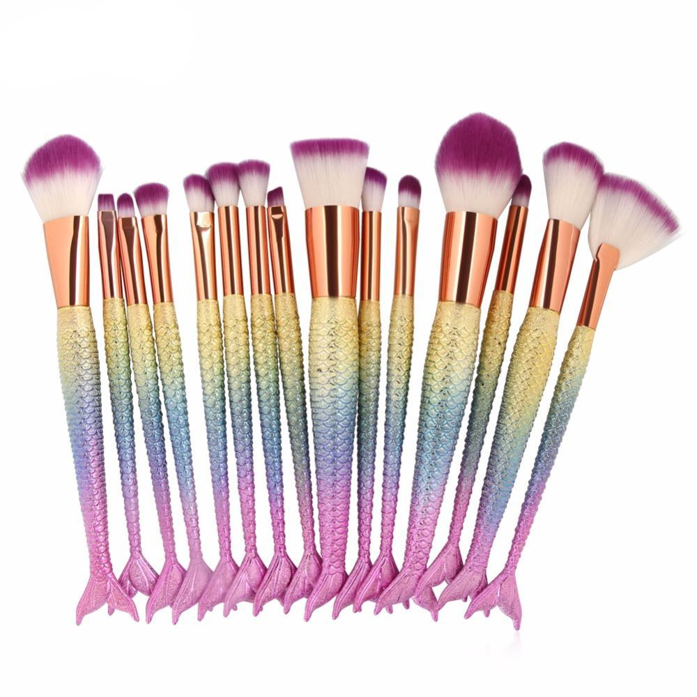 15PCS Mermaid Makeup Brushes