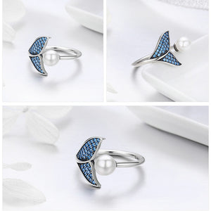 100% 925 Sterling Silver Mermaid Tail Adjustable Ring