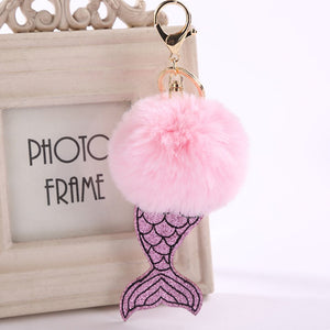 1 Pcs Fashion Mermaid Pompom Keychain