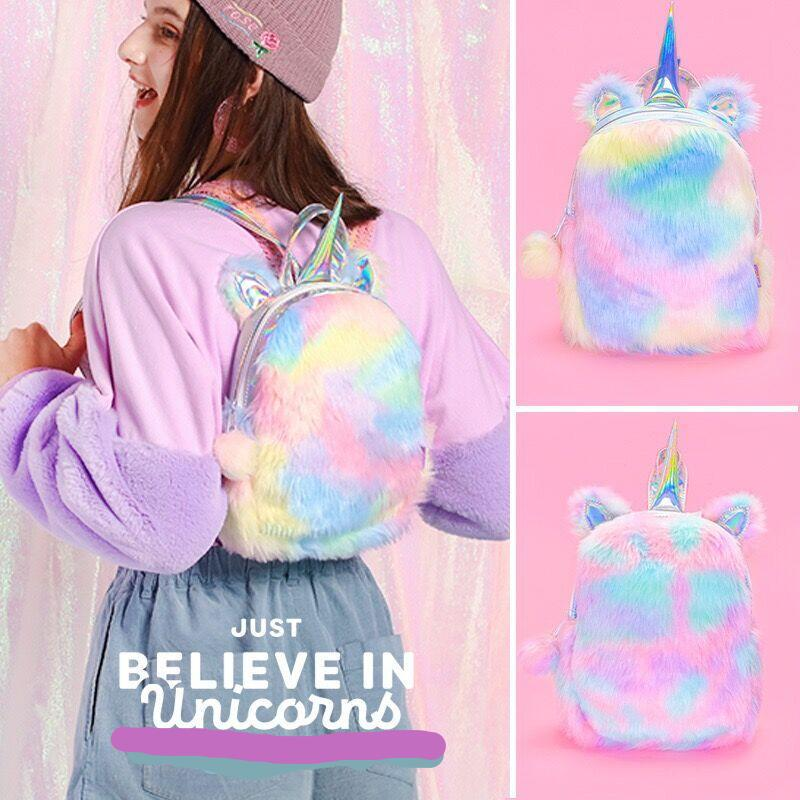 Velvet Soft 12 inch Rainbow Unicorn Backpack