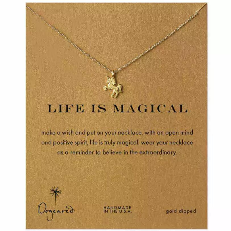 Silver/Gold-color Life Is Magical Unicorn Alloy Chain Pendant Necklace