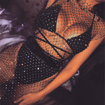Crystal Diamond Mesh Fishnet Dress