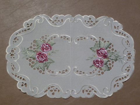 Valance-Burgundy Rose on Ecru M-E0420/E-27