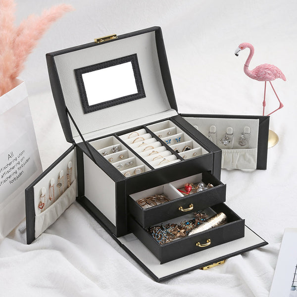 Jewelry Storage Organiser Drawers Box Travel Makeup Cosmetic Case & Mirror Leather Wedding Decoration Gift | 2EO.World - 2EO.World