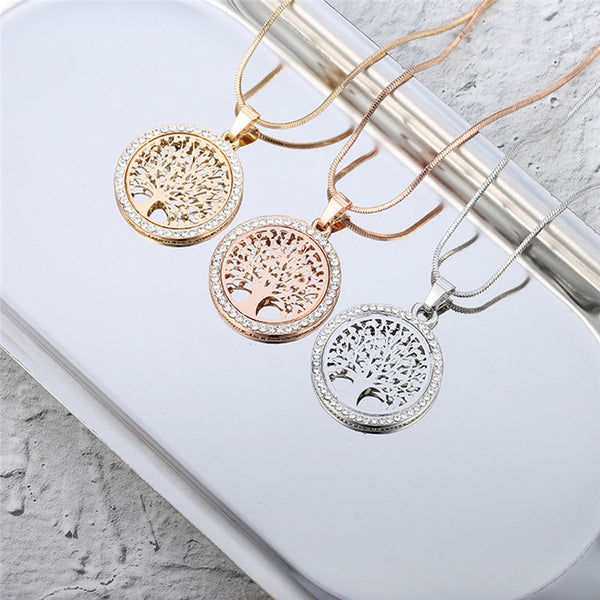 Hot Tree of Life Crystal Round Small Pendant Necklace Women Jewellery | 2EO.World - 2EO.World