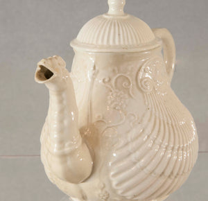English Staffordshire Salt Glaze Pectin Shell Teapot circa 1755