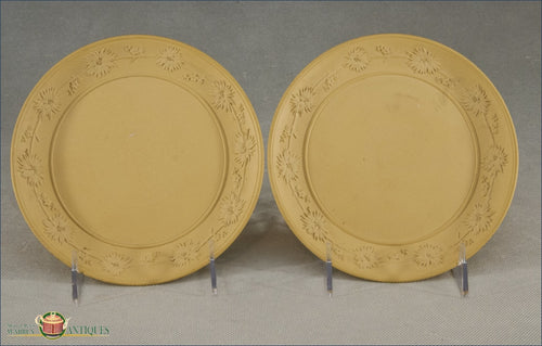 A Pair Of Antique English Caneware Dessert Plates Impressed Wedgwood Mark C1810-1815