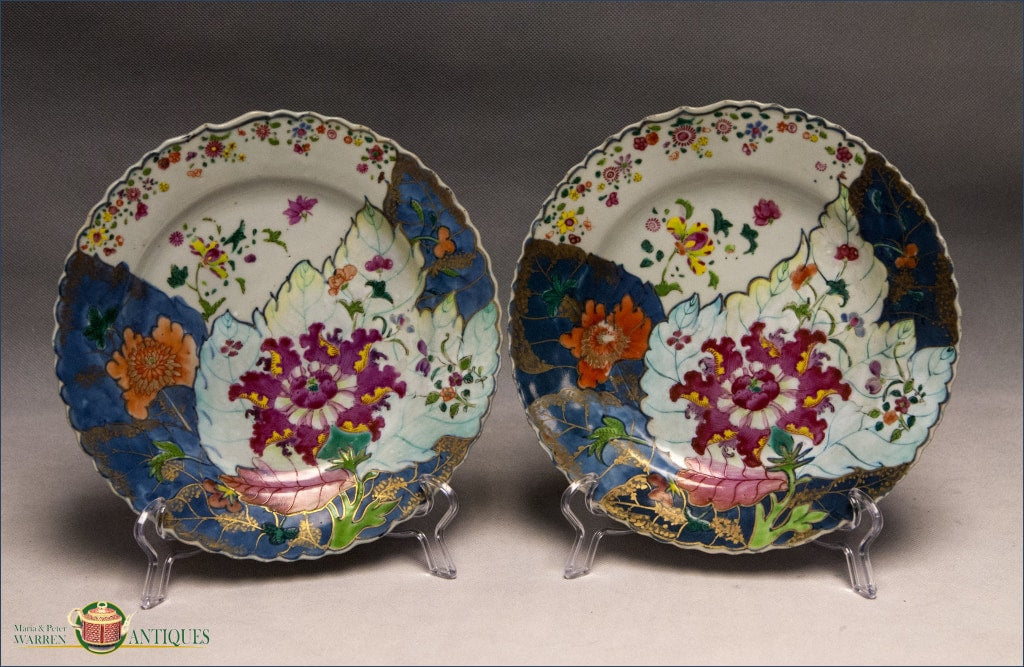 A Pair Of Chinese Export Tobacco Leaf Plates With Scalloped Edge C1780