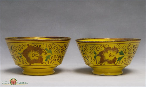 A Pair Of Antique Creamware Yellow Glazed Bowls With Copper Lustre From Swansea C1820 19Th Century English