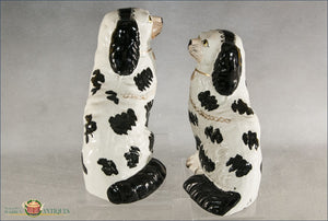 A Pair Of English Staffordshire Disraeli Black And White Spaniels C1860 Post 1840 Figures