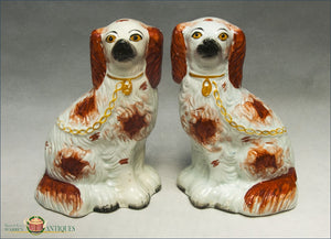 A Pair Of English Staffordshire Red And White Spaniels C1860 Post 1840 Figures